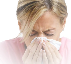 Australian hay fever sufferer blow her nose
